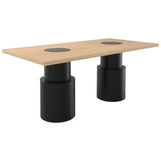 Contemporary 102 Dining Table in Oak and Black by Orphan Work, 2019 For Sale