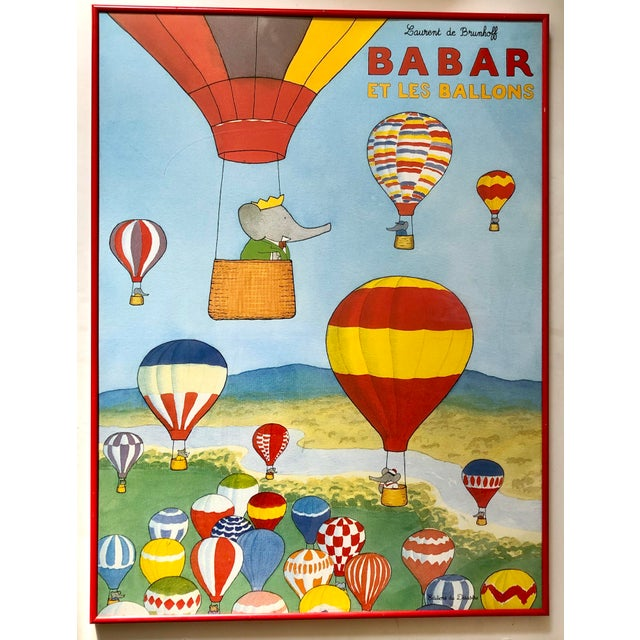 1980s French Babar Et Les Ballons Framed Print For Sale - Image 5 of 5