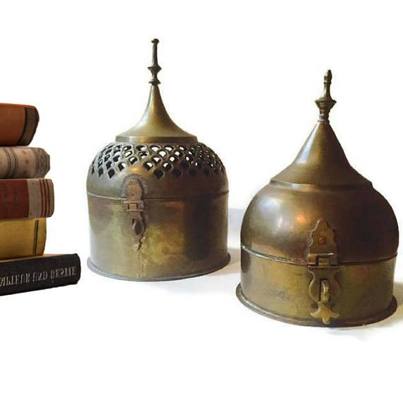 Incredible Vintage Pair of Brass Lidded Boxes, Stupa Shaped Storage Boxes. Made in India for Saks Fifth Avenue, these are...