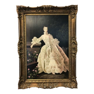 Patierno, Painting of an 18th Century Lady, Oil on Canvas For Sale