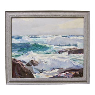 1940s Impressionist Frank Harmon Myers Monterey Ocean Waves Seascape For Sale