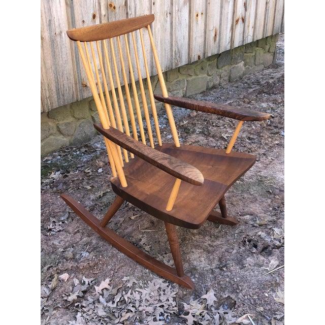 Modern Nakashima Studio Mixed Wood Lounge Rocking Chair For Sale - Image 13 of 13
