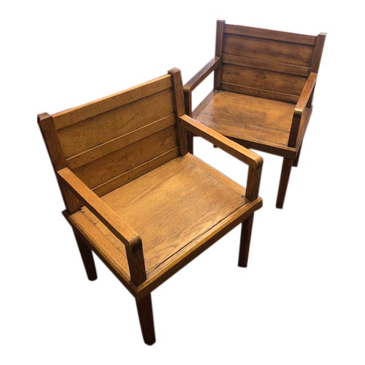 1970s Rustic Wood Side Chairs - a Pair For Sale