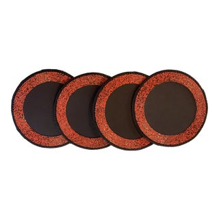 African Hand Beaded Leather Placemats With Whip-Stitched Leather Edges From Kenya - Set of 4 For Sale
