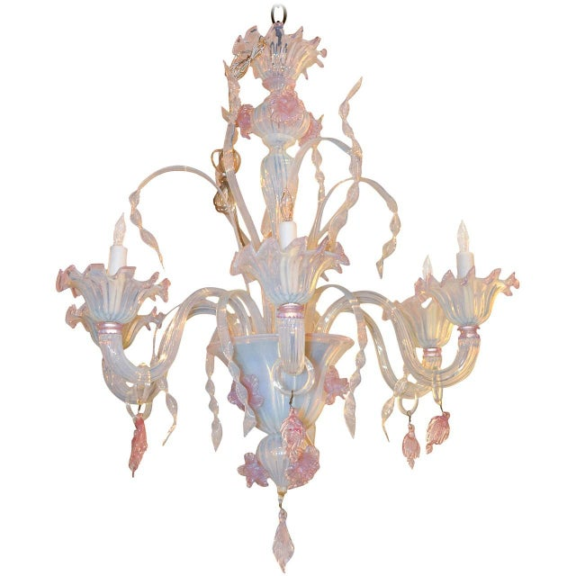 Antique Murano Blown Glass Opalescent Chandelier For Sale - Image 9 of 9