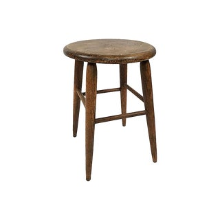 Round Primitive Wood Stool For Sale