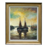 Image of French Harbor Scene With Sailboats Oil on Canvas Painting For Sale