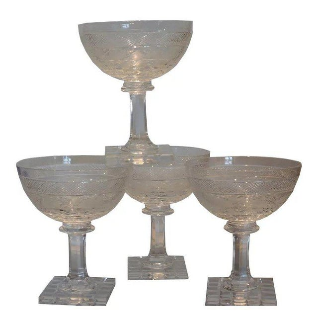 Late 19th Century Set of 4 Antique Moser Stone Cut Champagne Stems W Bird Decoration For Sale - Image 5 of 5
