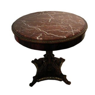 Round Mahogany Side Table For Sale
