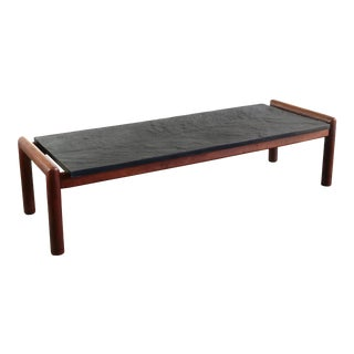 Slate Coffee Table w/ a Tubular Walnut Base Attributed to Adrian Pearsall, USA For Sale
