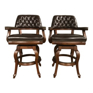 Modern Chesterfield Classic Style Tufted Leather Swivel Cherry Bar Stools -A Pair For Sale