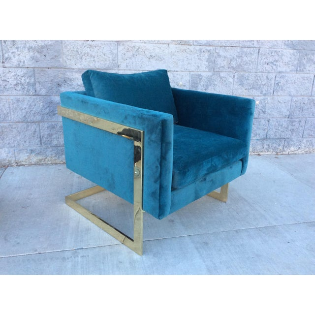A stunning Hollywood regency Milo Baughman style lounge chair.Extremley heavy brass plated frame and new teal velvet...