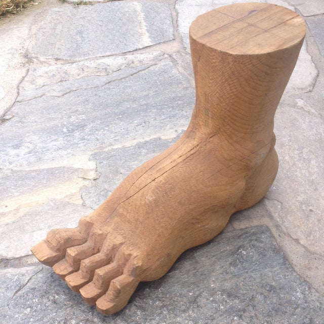 """Incredible oversized vintage wood foot carving. The seller says: """"Purchased from a Hollywood estate full of movie props...."""