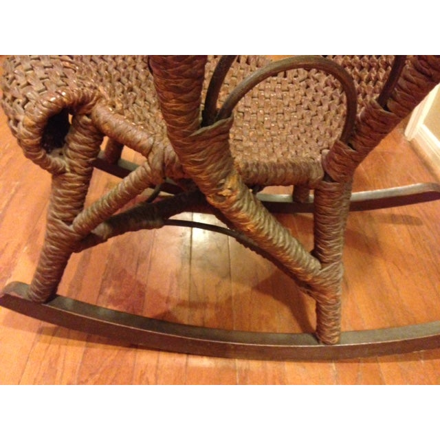 Brown Mfg Vintage Child's Rocking Chair - Rush Weaving - Excellent Condition For Sale - Image 8 of 11