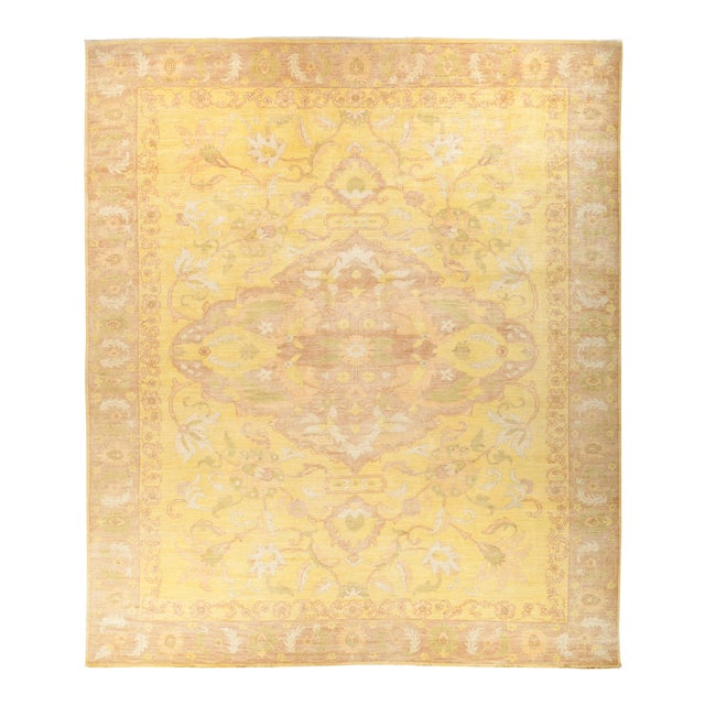 """Oushak Hand Knotted Area Rug - 12' 5"""" X 14' 6"""" For Sale"""