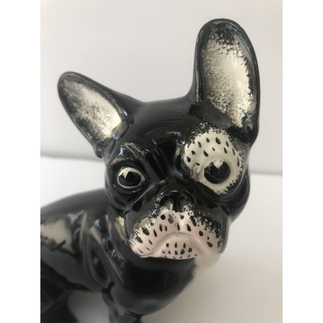 Mid 20th Century Vintage Black and White Ceramic French Bulldog For Sale - Image 5 of 10