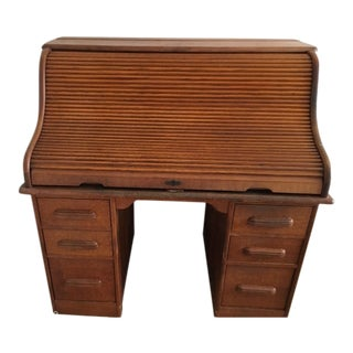 Antique Wooden Rolltop Desk For Sale