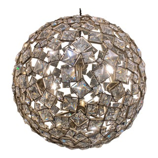 Uttermost Champagne Metal Square Crystal Orb Light For Sale