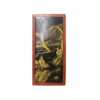 Vintage Restored Golden Oriental Scenery Graphic Wood Panel Art For Sale