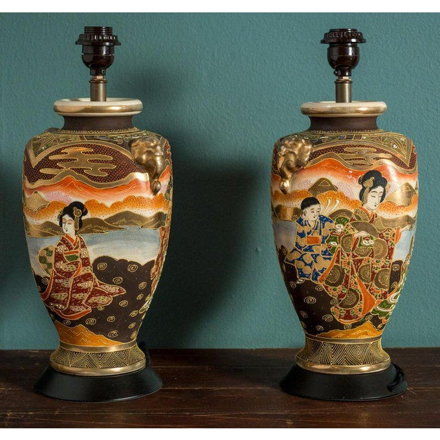 Pair of Japanese Satsuma Table Lamps For Sale - Image 4 of 5