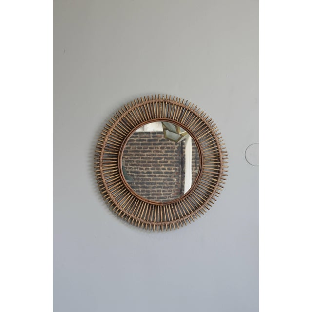 DESIGN FRERES Oculus' Round Rattan Mirror by Design Frères For Sale - Image 4 of 5