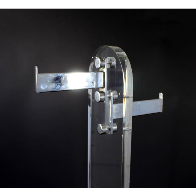 1970s Mid-Century Modern Lucite and Chrome Standing Coat Rack Hollis Jones Era For Sale - Image 5 of 8