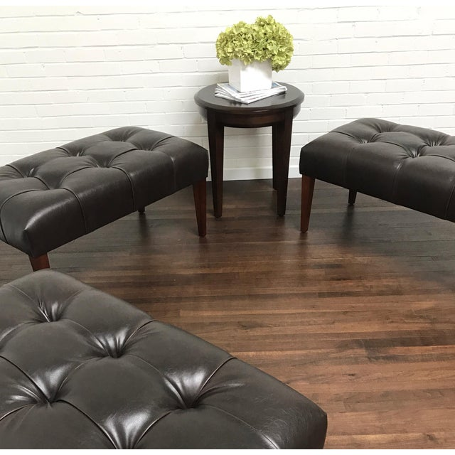 Transitional ButtonlessTufted Bench With Walnut Finish For Sale In Dallas - Image 6 of 9