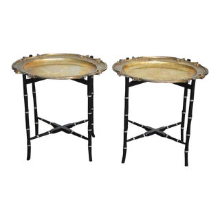 English Silver-Plate Tray Tables on Faux Bamboo Stands - a Pair For Sale