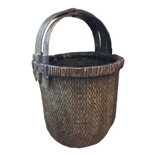 Antique Chinese Willow Basket For Sale