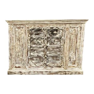 1920s Rustic Beach Carved Storage Cabinet For Sale