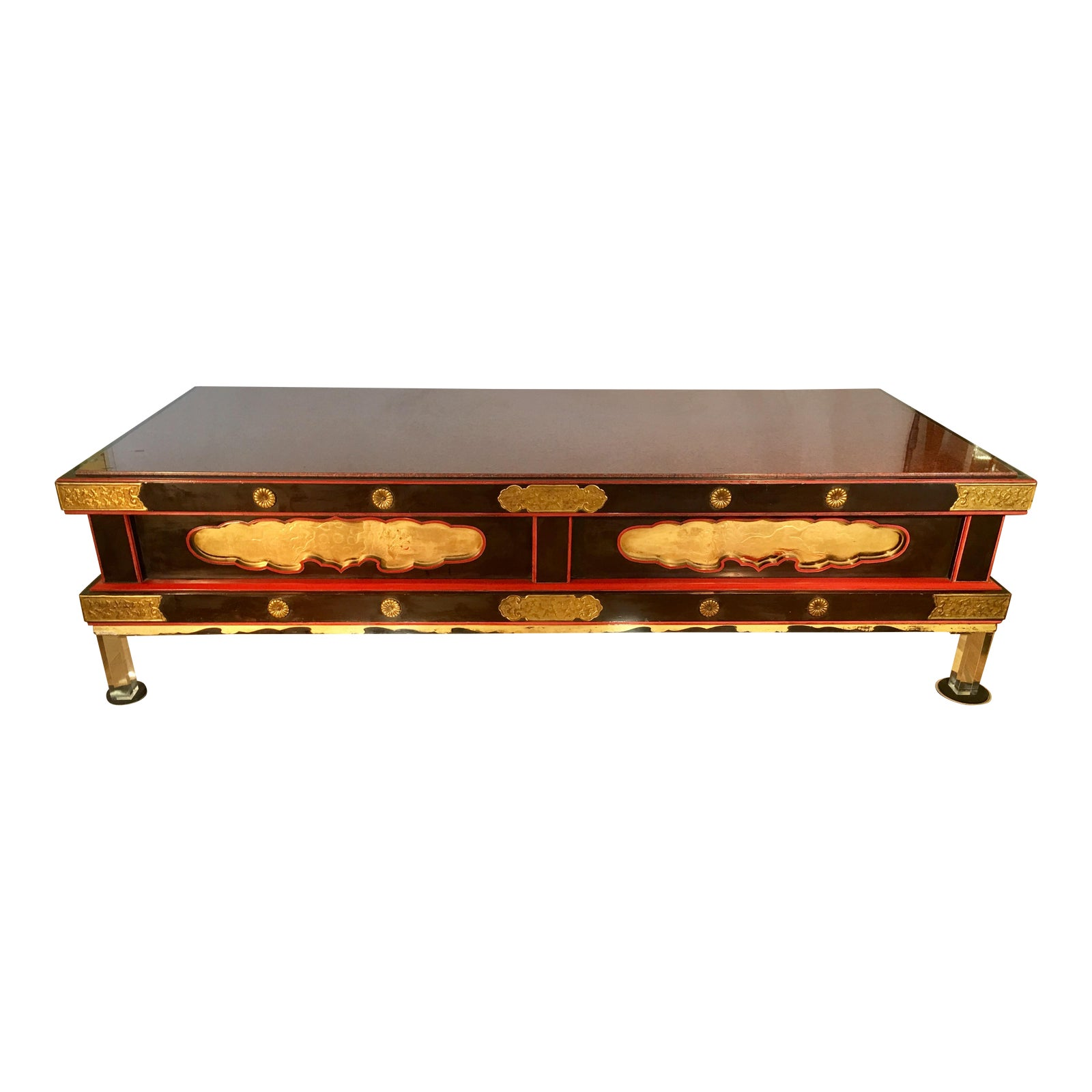Japanese Coffee Table.Antique Japanese Coffee Table W Rouge Marble Modern Lucite Feet