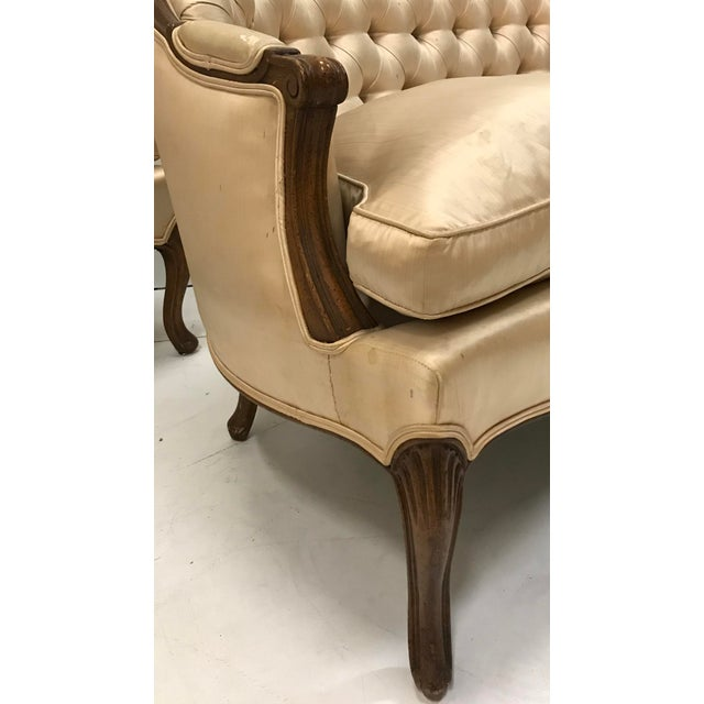 1960s Country French Loveseats Settee Cabriole Leg Louis XV Style Button Tufted Carved Frame - a Pair For Sale - Image 11 of 12