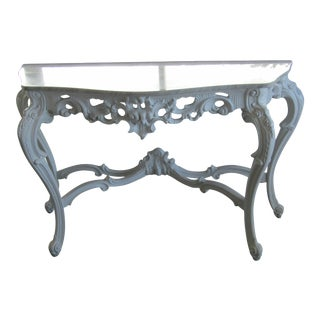 1940s Rococo Carved Wood Console Table For Sale