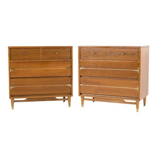 1960s Mid-Century Modern Kroehler Impression Walnut and Brass Nightstands - a Pair For Sale