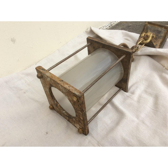 Antique Hammered Texture Iron and Glass Lantern For Sale - Image 9 of 11