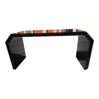 Modern Black Lacquered Wood Console Table For Sale