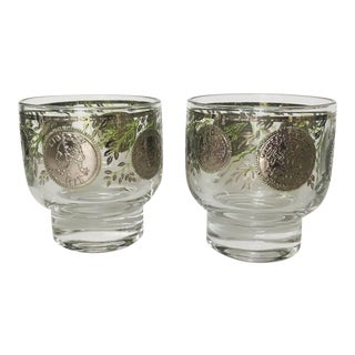Mid Century Cordial Glasses With Silver Coins - a Pair For Sale