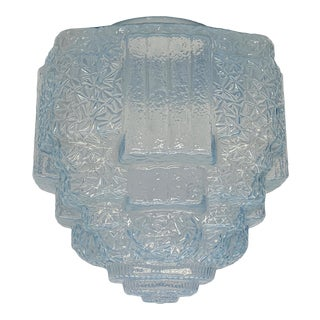 1930s Art Deco Ice Chip Blue Skyscraper Shade for Pendant or Flush Mount For Sale