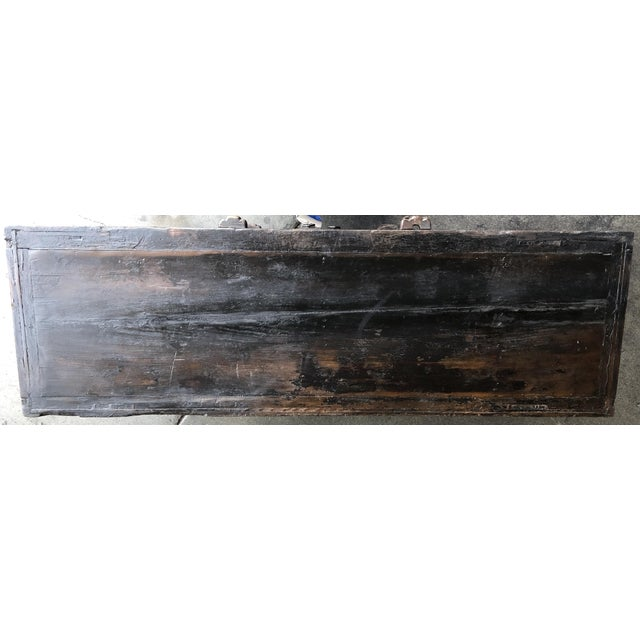 Vintage Rustic Chinese Low Media Cabinet For Sale - Image 9 of 10