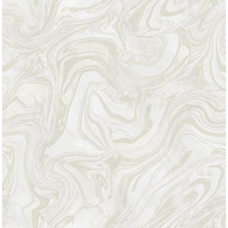 Abstract Modern White and Silver Marble Wallpaper - 1 Double Roll For Sale