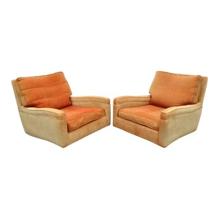 Mid-Century Modern Milo Baughman Upholstered Sculpted Club Lounge Chairs- A Pair For Sale