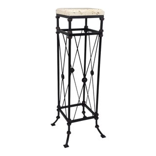 Tuscan Style Plant Stand With Shell Stone Top For Sale