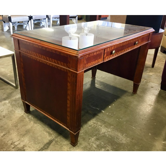 Gorgeous, petite sized, executives desk, made primarily of mahogany, with tiger wood borders, in an Empire meets Edwardian...