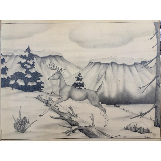 Deer in Winter Mountain Vintage Drawing by M. Keoke - Image 2 of 6