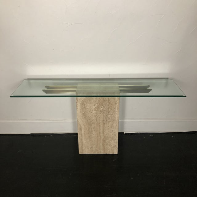 1970s Italian Marble/Brass Artedi Console Table For Sale - Image 13 of 13