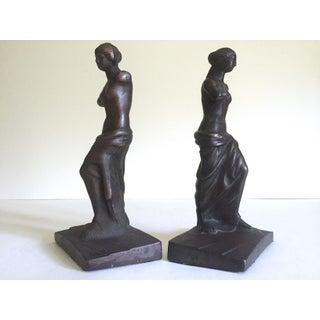 """Vintage 1920's Rare """" Venus De Milo """" Cast Iron Bronze Neoclassical Bookend Statues - a Pair Preview"""