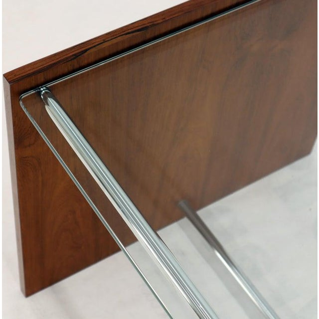 Mid-Century Danish Modern Rosewood Chrome Glass Top Coffee Side Table For Sale - Image 9 of 11