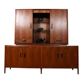Brown Saltman American Modernist Walnut 2 Piece Display / Storage Cabinet For Sale
