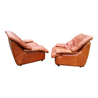 Italian 1970's Designer Leather Sofa and Chair - A Pair For Sale