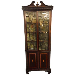 19th Century English Georgian Mahogany and Satinwood Corner Cabinet Lighted For Sale